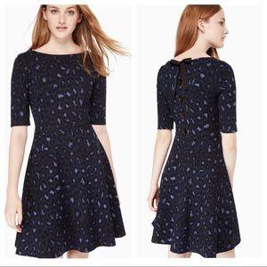 Kate Spade Leopard Print Lace-up Ponte Dress XXS